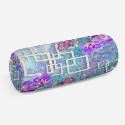 3D подушка-валик «Современная композиция с орхидеями»