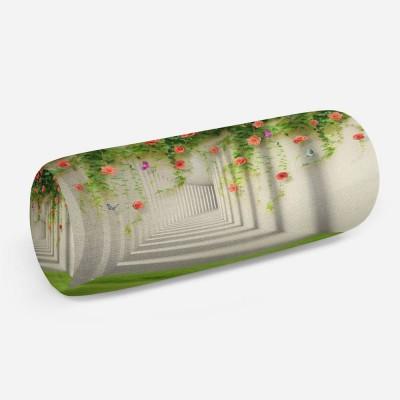 3D подушка-валик «Тоннель с лианами роз»