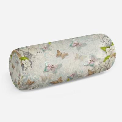3D подушка-валик «Цветы и бабочки»