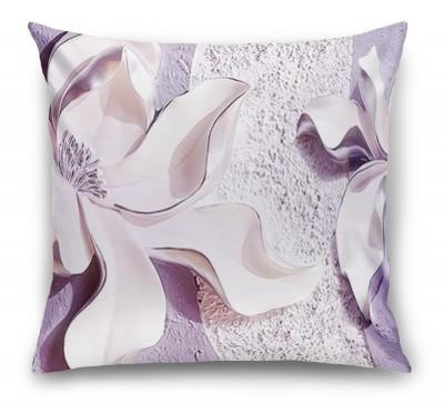 3D Подушка «Фиолетовые магнолии на рельефном фоне»