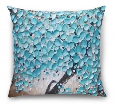3D Подушка «Объемная живопись: дерево - голубая гуашь»