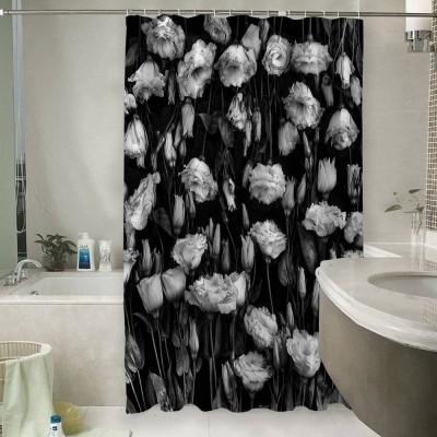 Шторы для ванной «Цветы на темной ткани»