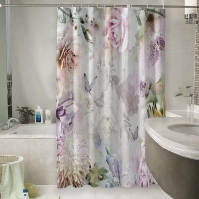 Шторы для ванной «Бабочки в нежных цветах»