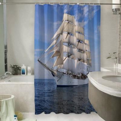 Шторы для ванной «Белый парусник»
