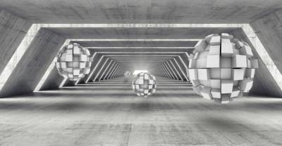 3D Фотообои «Футуристичный ангар с парящими сферами»
