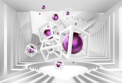 3D Фотообои «Абстракция с фиолетовыми шарами»