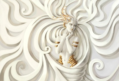 3D Фотообои «Барельеф девушка с золотом»