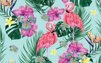 3D Фотообои «Фламинго с тропическими листьями»