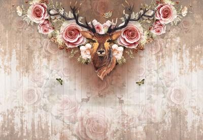 3D Фотообои «Стена с оленем и цветами»