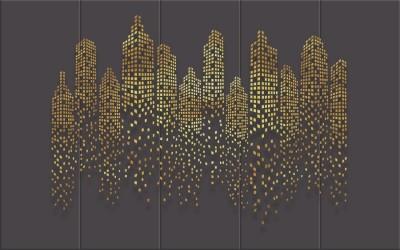 3D Фотообои «Огни золотого города»