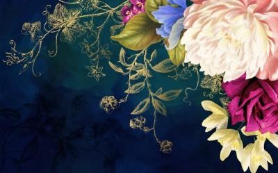 3D Фотообои «Темная композиция с цветами»