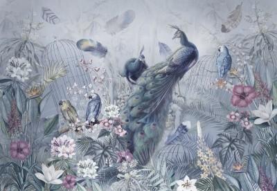 Фотообои «Сад с павлинами в голубых тонах»