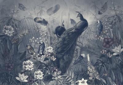 Фотообои «Сад с павлинами в тёмных тонах»