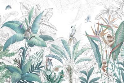 3D Фотообои «Утро в джунглях»