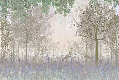 3D Фотообои «Цапли в туманном лесу»