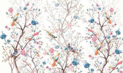 3D Фотообои «Волшебные птички в цветущих ветвях»