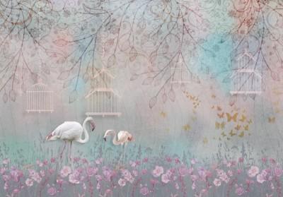 3D Фотообои «Фламинго в розовом лесу»
