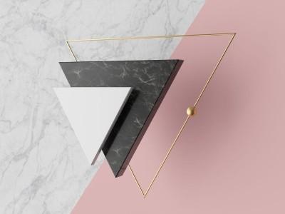 3D Фотообои «Объемные мраморные треугольники»