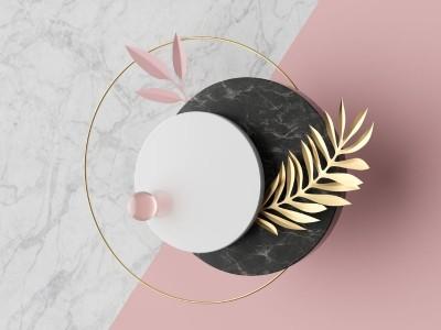 3D Фотообои «Объемные мраморные круги»