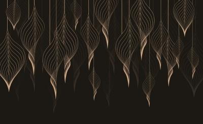 3D Фотообои «Золотые ниспадающие листья»
