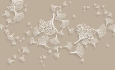 3D Фотообои «Круговорот из цветочных зонтиков на светлом»