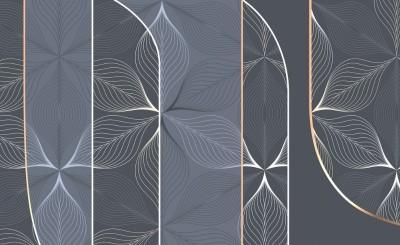3D Фотообои «Цветочное кружево в базальтовом оттенке»