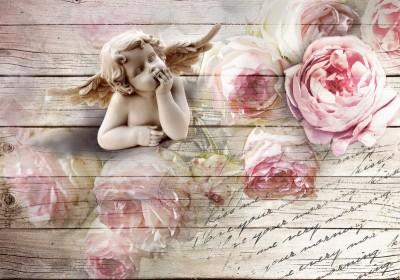3D Фотообои «Ангелочек с розами»
