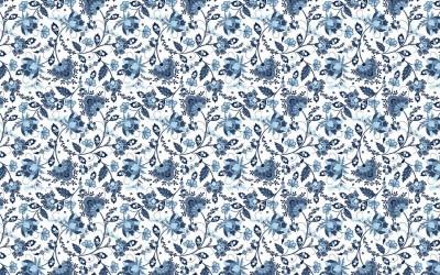 3D Фотообои «Цветочный узор с голубым оттенком»