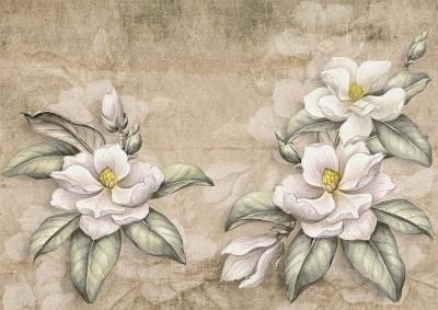 3D Фотообои «Цветы на крафтовой бумаге»