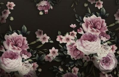 3D Фотообои «Эффектные розы на черном фоне»