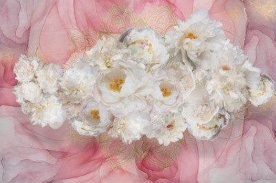 3D Фотообои «Роскошные пионы на розовом мраморе»