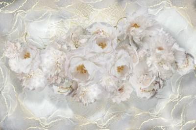 3D Фотообои «Роскошные пионы на мраморе»