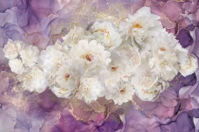 3D Фотообои «Роскошные пионы на лавандовом мраморе»