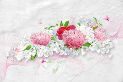 3D Фотообои «Нежно-розовые хризантемы»