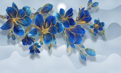 3D Фотообои «Роскошная ветвь цвета индиго»
