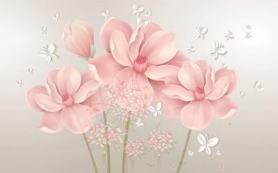 3D Фотообои «Нежные цветы с объемными бабочками»