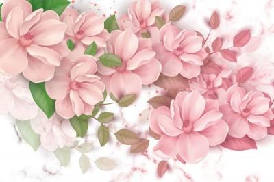 3D Фотообои «Обилие розовых магнолий»