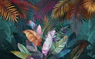 3D Фотообои «Яркий тропический букет»