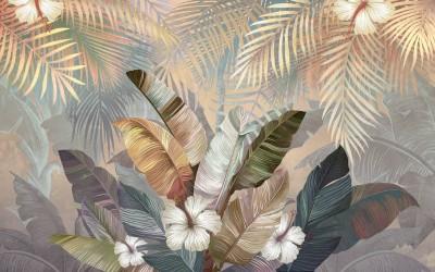 3D Фотообои «Тропический букет на закате»