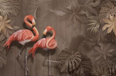 3D Фотообои «Фламинго в тропической листве»