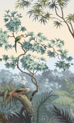 3D Фотообои «Пейзаж с экзотическими птицами»