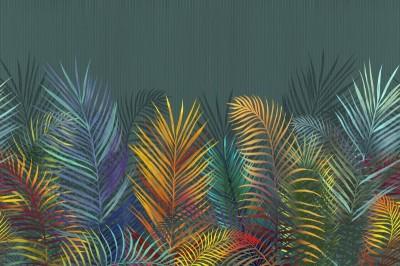 3D Фотообои «Яркие тропические листья»