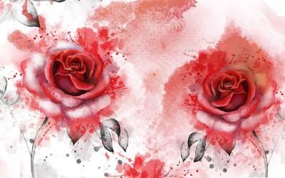 3D Фотообои «Алые розы в акварельной дымке»