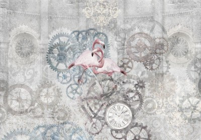 3D Фотообои «Фламинго с часами»