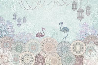 3D Фотообои «Фламинго с восточными мотивами в голубых тонах»