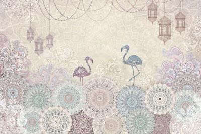 3D Фотообои «Фламинго с восточными мотивами»