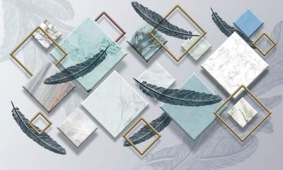3D Фотообои «Перья на мраморных ромбах»