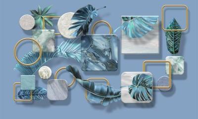3D Фотообои «Листья на мраморных квадратах»