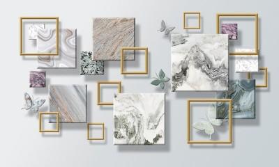 3D Фотообои «Бабочки и мраморные квадраты»
