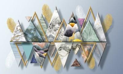 3D Фотообои «Золотые перья с мраморными треугольниками»